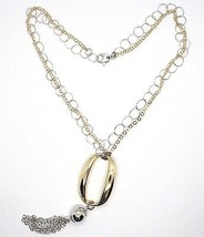 SILVER 925 NECKLACE, DOUBLE CHAIN ROLO', WHITE AND YELLOW, OVAL FRINGE, HANGING image 2