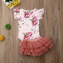 Newborn Baby Girl Floral Romper Tulle Skirts Outfits Cupcake Dress Summer Set To image 3