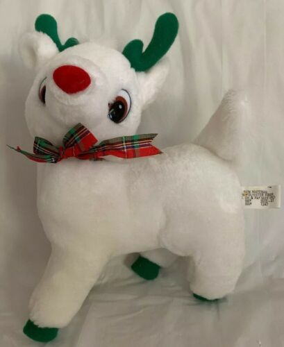 Primary image for White Plush Christmas Holiday Reindeer: Green Antlers & Hooves Red Nose Goffa