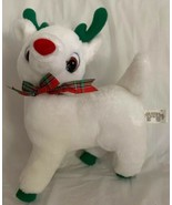 White Plush Christmas Holiday Reindeer: Green Antlers & Hooves Red Nose ... - $15.83
