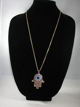 NEW Betsey Johnson Rhinestone Evil Eye Hasma Hand Pendant on l... - $24.50