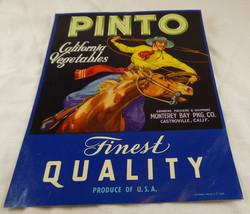 "Vintage PINTO CALIFORNIA VEGETABLES  AD/LABEL 7 "" X 9"" WILD WEST - $4.74"