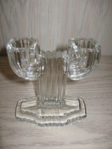 Anchor Hocking Queen Mary Double Branch Candle Stick Holder 1936-1949 - $9.95