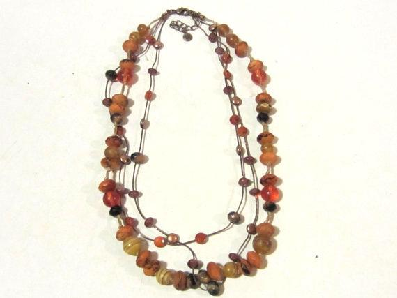 Beautiful Fashion jewelry necklace 3 strand signed Lc