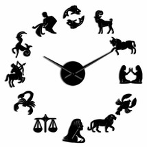 12 Zodiac Signs 3D Acrylic DIY Wall Clock Modern Art Astrology Astronomy... - $36.41+