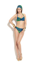 NWT GOTTEX designer swimsuit bikini 12 top 10 bottom green blue $178 tro... - $72.74