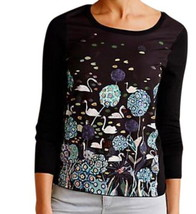 Anthropologie Once Upon a Pond Pullover XS 0 2 Black Swans Trees Work of Art NWT - $62.30