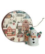Christmas Scene Keepsake Box and Porcelain Snowman Ornament Holiday Decor - ₹377.50 INR