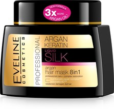 Eveline Cosmetics Liquid Silk Professional ARGAN HAIR MASK 8IN1 with Ar... - $14.95