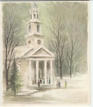 Vintage Christmas Card Church in Snow 1960's Hallmark - $6.92