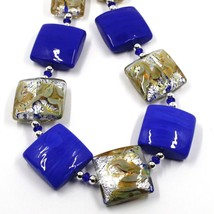 """NECKLACE WITH BLUE MURANO SQUARE GLASS & SILVER LEAF, MADE IN ITALY, 50cm, 20"""" image 2"""