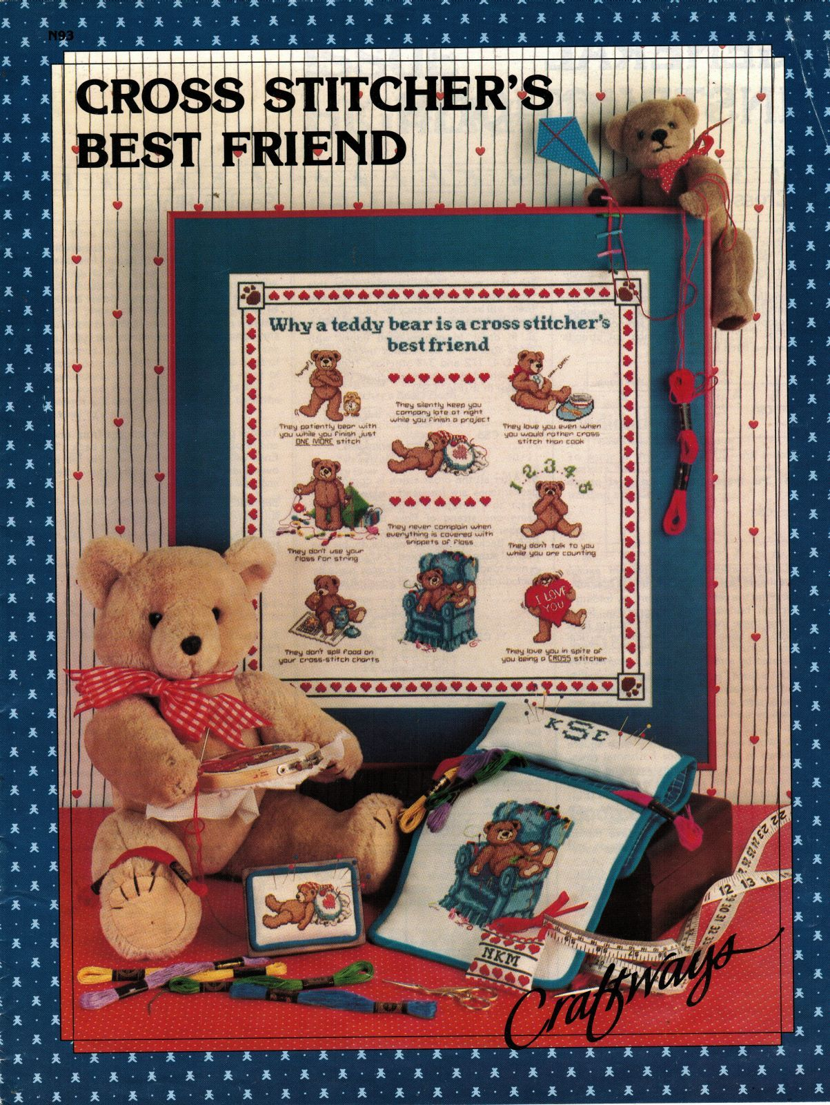 Primary image for Cross Stitch Stitcher's Best Teddy Bear Friend Caddy Floss Sew Box Apron PATTERN