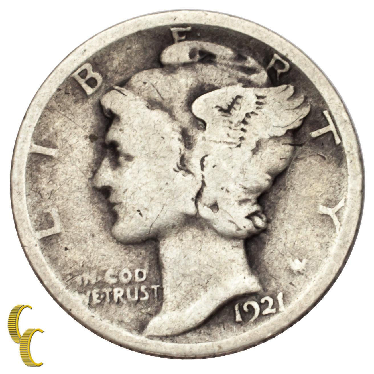 1921 Silver Mercury Dime 10C (Very Good, VG Condition)