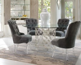 DENIS - 5pcs Modern Round Glass Top Metal Dining Room Table Chairs Set Furniture