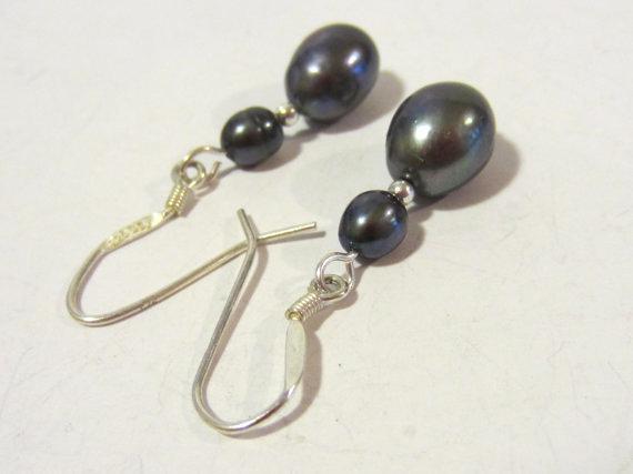 Sterling silver 925 Natural Pearl dangle earrings
