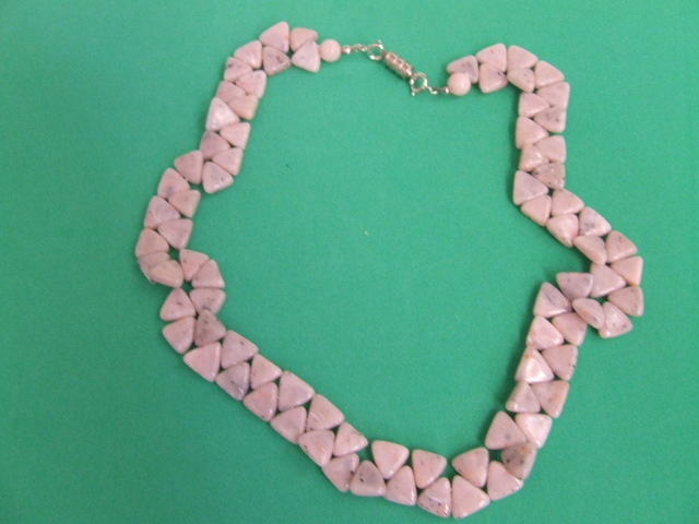 Retro Pink and Gray Stone  Necklace Costume