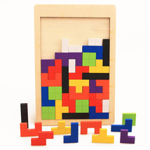 Colorful Wooden Tetris Game style Wooden Building children's Gift - $20.68