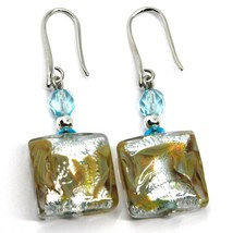 PENDANT EARRINGS WITH AZURE MURANO SQUARE GLASS & SILVER LEAF, MADE IN ITALY 5cm image 1