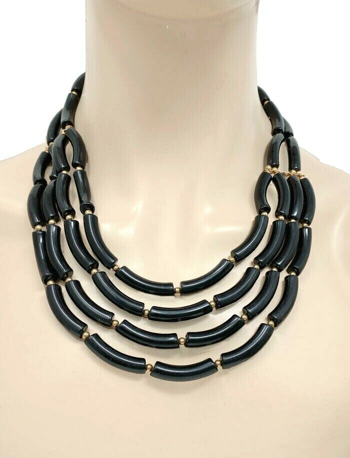 Black Multistrand Multilayer Casual Acrylic Statement Necklace Earrings - $17.01