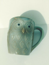 Gibson Home Large Coffee Mug Owl Motif Dark Green New Condition Set of T... - $39.99