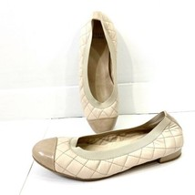 Stuart Weitzman Quilted Leather Ballet Flat shoes Size 9M 9 M Soft Beige - $29.59
