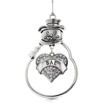Inspired Silver Bae Pave Heart Snowman Holiday Decoration Christmas Tree Ornamen - $14.69