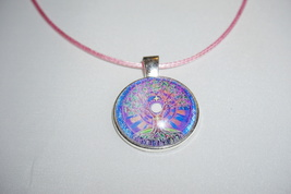 Pink and Purple, Tree of Life Necklace, Tree of Life Pendant, Pink Necklace - $6.99