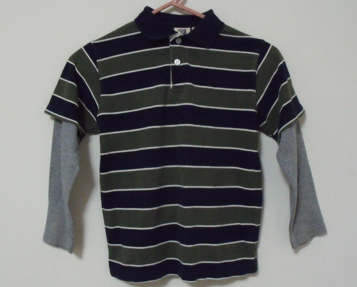Primary image for Boys Faded Glory Green and Navy Long Sleeve Cotton Shirt Size S