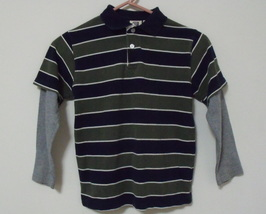 Boys Faded Glory Green and Navy Long Sleeve Cotton Shirt Size S - $4.95