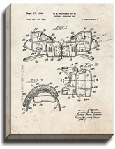 Football Shoulder Pad Patent Print Old Look on Canvas - $39.95+
