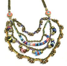 Vanessa Mooney Poppystack Necklace BOHO Multi Tier Strand Multicolor Beads image 5