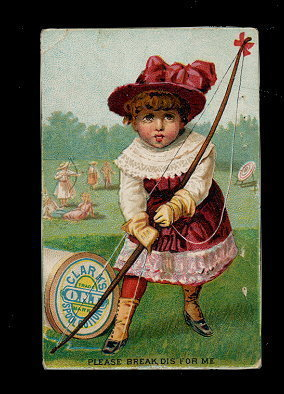 Primary image for 1880's Clark's O.N.T, Thread Girl Archer Trade Card