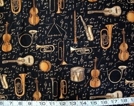 1/2 yd music/instruments gold/black Hoffman quilt fabric -free shipping