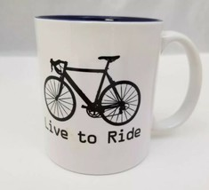 Live To Ride Coffee Mug Cup White Blue Inside Cycling Bikes Bicycling - $13.21