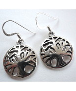 Tree of Life Earrings 925 Sterling Silver Signify Interconnection of All... - $12.33