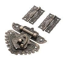 2PCS Hinge & 1 PC Retro Style Padlock Lock Key Latch Clasp Set Box Lock ... - $18.57