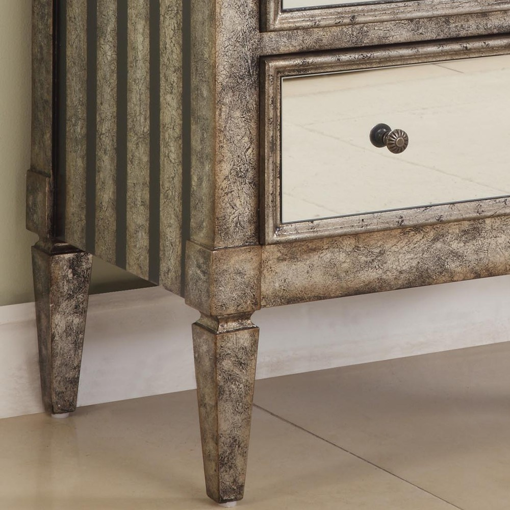 """2-Drawer Mirrored Console """"Antique Silver"""" & """"Black Crackle"""""""