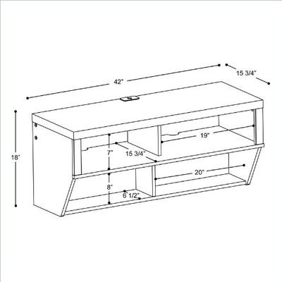 """BLACK 42"""" Wall Mounted Entertainment Console TV Stand Storage PP BCAW-0507-1"""