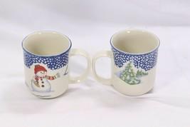 Thomson Pottery Snowman Xmas Mugs Lot of 9 image 2