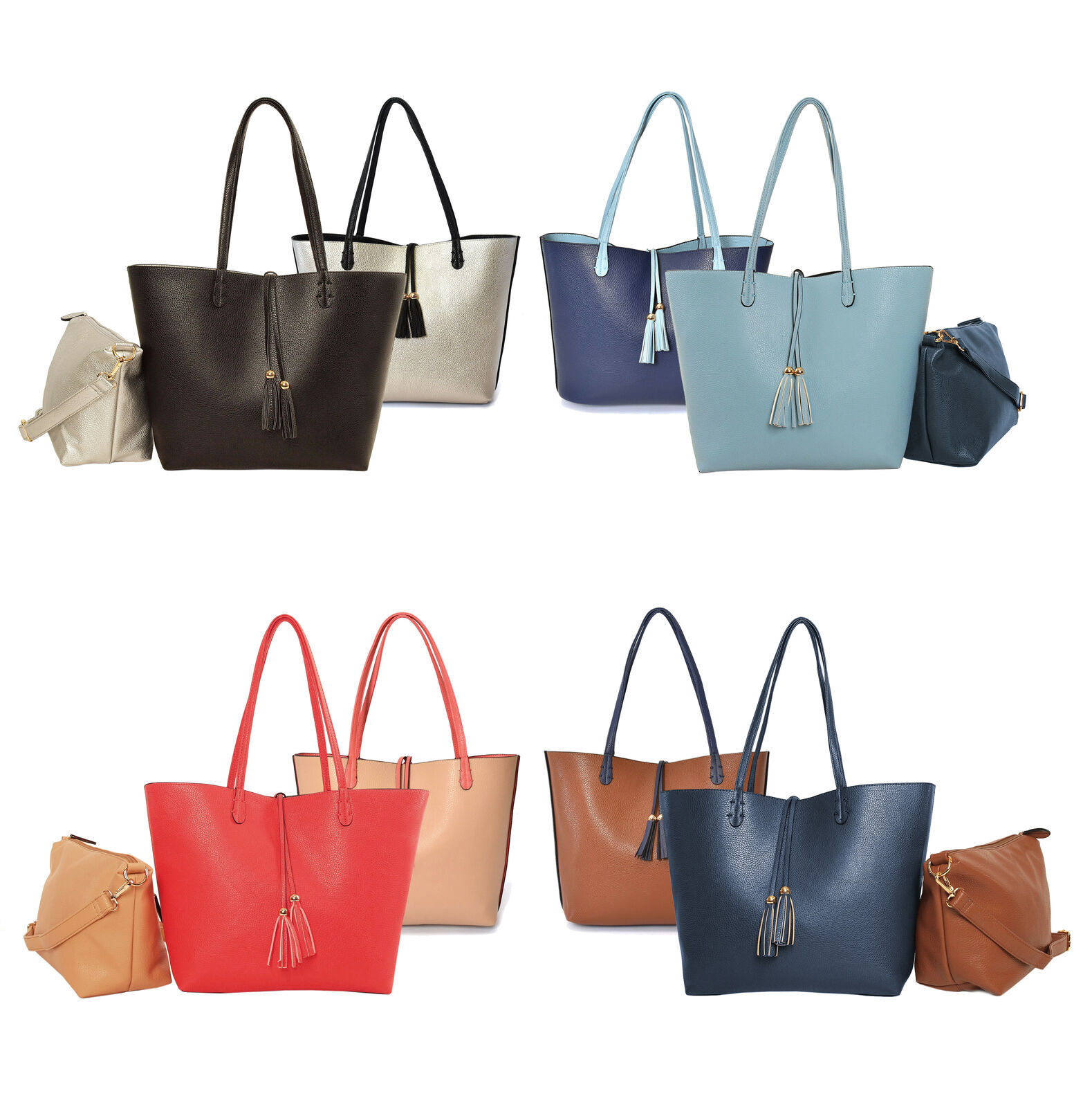 Women's Classic 2-in-1 Vegan Leather Purse Two Toned Reversible Tote Handbag