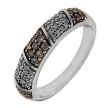 925 Sterling Silver Brown and White 0.75 CT Diamond Band Ring Size 7» R226 - $184.60