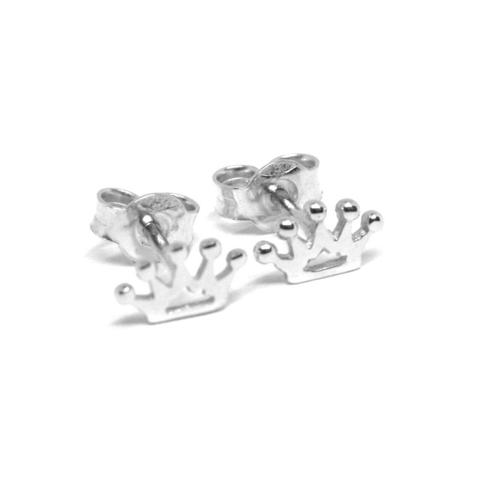 18K WHITE GOLD EARRINGS, FLAT MINI CROWN, 0.2 INCHES, BUTTERFLY CLOSURE