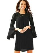 Lilly Pulitzer Amenna Lace Yoke Lileeze Flounce Sleeves Black Onyx Shift... - $148.50