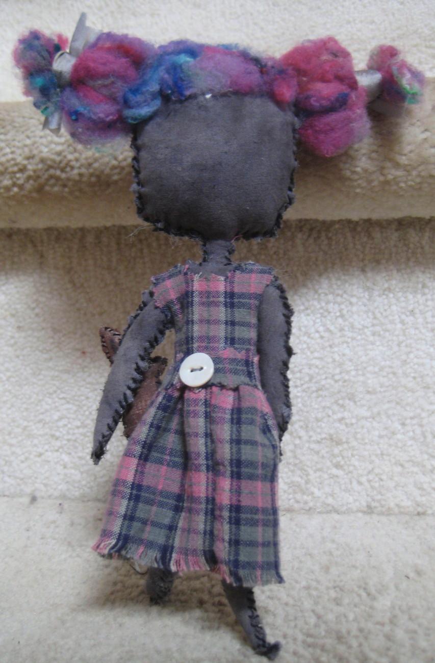 "8 1/2"" OOAK- Primative rag doll  COMING APART AT THE SEAMS - #8, CLARA W/ RABBIT"