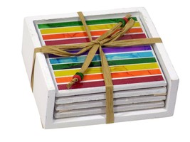 SET OF 4 RAINBOW STRIPE MOSAIC COASTERS WITH HOLDER ETHICALLY SOURCED - $16.48