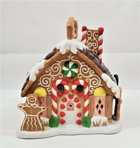 """PartyLite Bisque Pocelain Gingerbread Tealight House Candle Holder 7"""" with Box - $30.13"""