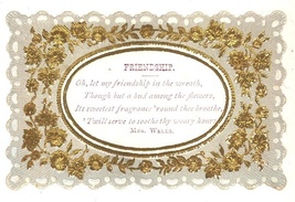 Victorian calling card Friendship Mrs. Wells die cut embossed lacy - $9.00