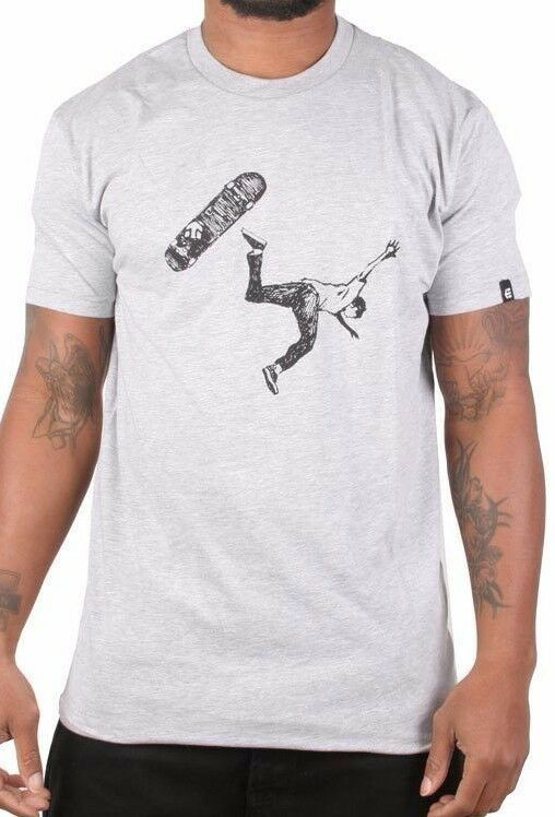 Etnies Men's Grey/Heather Scame Skateboarding Falling Skateboarder T-Shirt NWT
