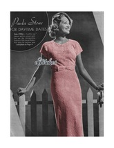 1930s Dress Cap Sleeves Waist Bow, Modeled by s... - $3.75