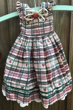 """Handcrafted 11 3/8"""" Embellished Plaid Doll Dress Lace Mesh Lining Hearts - $10.46"""